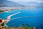 Alanya city hill, city coast, view from castle. Turkey