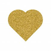 Gold Heart. Granular Dot Mosaic. The Shape Of Heart Is Filled With A Plenty Of Gold Or Yellow Points poster