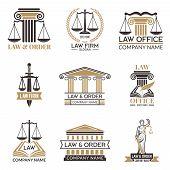 Badges Of Law And Legal. Hammer Of Judge, Legal Code Black Illustrations Of Labels For Jurisprudence poster