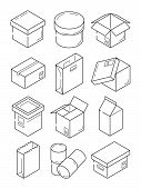Box Outline Symbols. Paper Wooden Or Carton Export Packages Vector Isometric Line Icons Isolated. Il poster