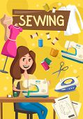 Woman Works On Sewing Machine, Vector. Seamstress Sewing Clothes At Home, Thread And Needle, Iron An poster