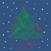 Christmas Greeting Card With Green Fir Tree Decorated With Red Toys. Patterned Christmas Fir Tree, T poster