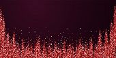 Red Gold Glitter Luxury Sparkling Confetti. Scattered Small Gold Particles On Red Maroon Background. poster
