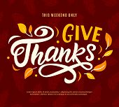 Thanksgiving Day Sale Web Banner Template. Give Thanks Promo Offer. Seasonal Discount Poster. Fall S poster