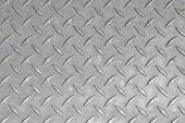 A large seamless sheet of slightly worn and scratched aluminum or nickel diamond or tread plate.