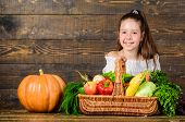 Girl Kid Rustic Style Farmers Market With Fall Harvest. Child Cheerful Celebrate Harvest Holiday Pum poster