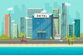 Hotel Near Sea Or Ocean Resort View Vector Illustration, Flat Cartoon Hotel Building On Beach, Stree poster