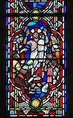 The Risen Christ and his disciples. Detail of a stained glass window in the Anglican Bermuda Cathedr