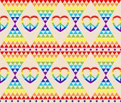 Vintage hippie wallpaper with rainbow, hippie symbol, psychedelic abstract triangle colorful pattern poster
