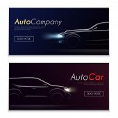 Set Of Two Horizontal Realistic Car Profile Dark Banners With Clickable Buttons Editable Text And Au poster