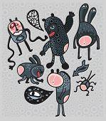 Crazy cartoon monsters.