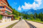 Scenic Summer View Of Caux Cogwheel Railway Station On The Way Up To The Rochers De Naye Mountain Pe poster
