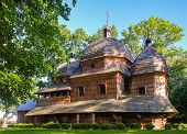 Scenic View Of Greek Catholic Wooden Mother Of God Church, Unesco, Chotyniec, Poland poster