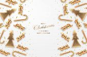 Christmas Festive Background With Golden Metallic Xmas Decorative Elements And Confetty. Shining Ser poster