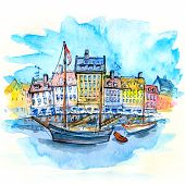 Watercolor Sketch Of Nyhavn With Colorful Facades Of Old Houses And Old Ships In The Old Town Of Cop poster
