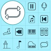 Audio Icons Set With Piano, Repeat, Loudspeakers And Other Octave Elements. Isolated Vector Illustra poster