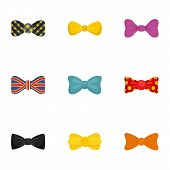 Elegant Bow Tie Icon Set. Flat Set Of 9 Elegant Bow Tie Vector Icons For Web Design poster