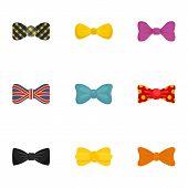 Elegant Bow Tie Icon Set. Flat Set Of 9 Elegant Bow Tie Vector Icons For Web Design poster