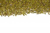 Lot Of Whole Dry Green Mung Beans Above Flatlay Isolated On White Background poster