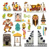 Bali Landmarks Vector Icons Set. Illustrated Travel Collection. Balinese Traditional Temple, Ethnic  poster