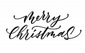 Vector Merry Christmas Lettering Script Ink Sign poster