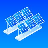 Plant Of Solar Panel Icon. Isometric Of Plant Of Solar Panel Vector Icon For Web Design Isolated poster