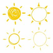 Set Vector Doodle Icons Of The Sun With Sunbeam. Hand Drawn Element. poster