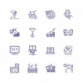 Finance Line Icon Set. Saving, Payment, Exchange. Money Concept. Can Be Used For Topics Like Finance poster