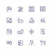 Finance Management Line Icon Set. Financier, Credit Card, Payment. Finance Concept. Can Be Used For  poster