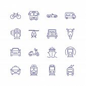Transport Line Icon Set. Train, Ship, Helicopter. Transportation Concept. Can Be Used For Topics Lik poster