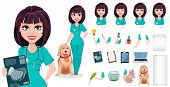 Veterinarian Woman, Pack Of Body Parts, Emotions And Things. Build Your Personal Design. Cute Cartoo poster
