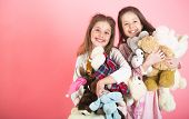 Little Girl With Toy. Two Beautiful Happy Girls Standing And Embracing Plushs Toy In Children Room.  poster