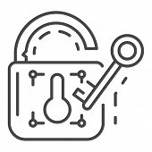 Unlock Device Security Icon. Outline Unlock Device Security Vector Icon For Web Design Isolated On W poster