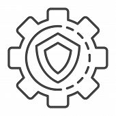 Gear Wheel Secured Icon. Outline Gear Wheel Secured Vector Icon For Web Design Isolated On White Bac poster