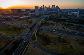 Golden Hour Sunrise Aerial Drone View High Above Denver , Colorado , Usa Skyline Cityscape Above Mil poster
