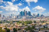 Los Angeles, California, Usa Downtown Cityscape At Cloudy Day poster