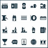Beverages Icons Set With Beer Tower, Wineglass, Signboard And Other Beer Can Elements. Isolated Vect poster