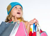 Get Promo Code. Amazing Sale And Discount. Shopping On Black Friday. Girl Amazed Face Knitted Hat Ho poster