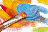 stock photo of paint brush  - exhausted paint brush and abstract painting - JPG