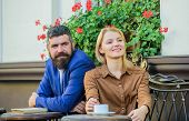 Couple In Love Sit Cafe Terrace Enjoy Coffee. Girl Dating With Businessman. Dating Businessman. Coup poster