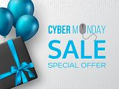 Cyber Monday Sale Poster Or Banner For Seasonal Discounts. Black Box With Realistic Silk Blue Bow An poster