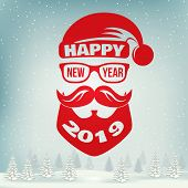 Happy New Year Stamp, Sticker Set With Santa Claus. Vector Illustration. Vintage Typographic Design  poster