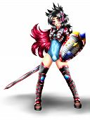 Hadassa, Is A Warrior Woman With Light Armor, A Sword And Shield, Anime Style. poster