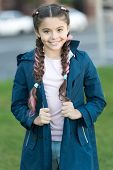 Girl With Braided Hair Style With Pink Kanekalon. Add Bright Detail. Little Girl With Cute Braids We poster