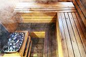Interior Of Finnish Sauna, Classic Wooden Sauna. Sweating Room. Steam Room poster