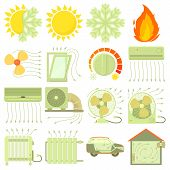 Heat Cool Air Flow Tools Icons Set. Cartoon Illustration Of 16 Heat Cool Air Flow Tools Icons For We poster