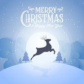 Merry Christmas Snowy Night And Happy New Year Festival End Year Party Silhouette Deer And Blue Text poster