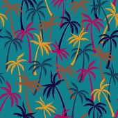 Coconut Palm Tree Pattern Textile Seamless Tropical Forest Background. Cool Vector Fabric Repeating  poster