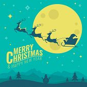 Merry Christmas And Happy New Year Banner With Deer Pulling Santas Sleigh In Full Moon Night Scene  poster