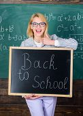 Great Beginning Of School Year. Top Ways To Welcome Students Back To School. Teacher Woman Hold Blac poster